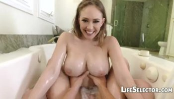 Playgirl has to share her hairy twat with studs